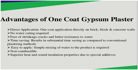 Advantages of one coat gypsum plaster