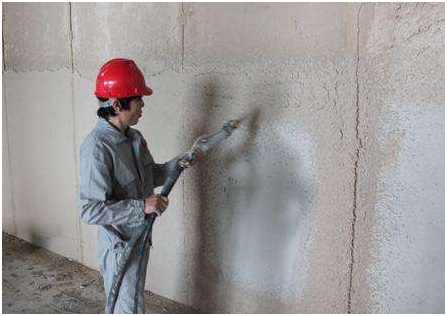 Plastering construction with gypsum mortar